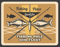 Fishing sport retro poster, fishes and rods. Fishing retro poster with crossed rods, bait and fishes, pole with float. Outdoor fish catching sport activity vector illustration