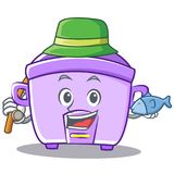Fishing rice cooker character cartoon Royalty Free Stock Photography