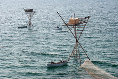 Fishing rigs. At the sea stock image