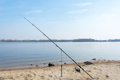 Fishing on the river beach. Stock Images