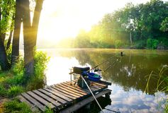 Fishing on river Royalty Free Stock Photography