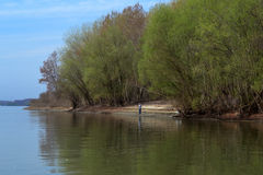 Fishing on the River Danube Royalty Free Stock Photo