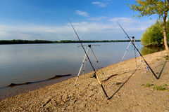 Fishing at the river Dunaj, Slovakia Royalty Free Stock Image