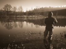 Fishing in river Royalty Free Stock Photo