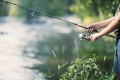 Fishing on the river royalty free stock photos