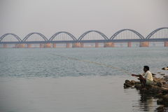 Indian river godavari. Fishing on  river, Godavari ,indian river Royalty Free Stock Photo