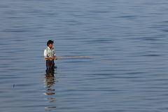 Fishing on the River Irrawaddy in Myanmar Stock Images