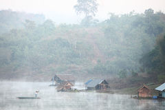 Fishing on the river, the morning Royalty Free Stock Image