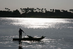 Fishing in the River Nile Stock Photo