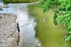 Fishing on the river Psekups Stock Photography
