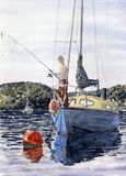Fishing on the River. Watercolour painting of a boy fishing off a boat on the river Royalty Free Stock Image