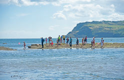 Fishing at Robin Hood's Bay royalty free stock photography
