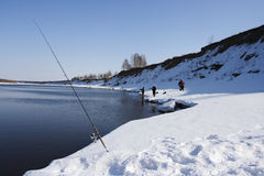 Fishing-rod. Winter landscape with fishing-rod in the snow Stock Images