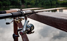 Fishing. The rod against the background of the lake Royalty Free Stock Photo