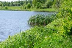 Fishing rod on the background lake stock photo