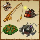 Fishing rod, bait, deep-sea fish and vegetation. Fishing rod, bait, assorted deep-sea fish and vegetation Stock Image