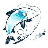 Fishing rod with bait and fish. Symbol Stock Images
