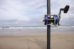 Fishing rod on beach Royalty Free Stock Photography