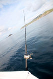 Fishing rod on a boat. Royalty Free Stock Images