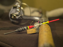 Fishing rod, bobber and sinker Royalty Free Stock Photography