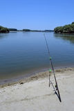 Fishing with rod. On the Danube. The fish are expected stock image