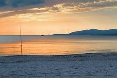 Fishing rod at dusk Stock Image