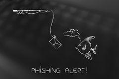 Fishing rod with email bait approaching doubtful fish, phishing Stock Image