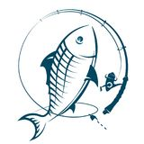 Fishing rod with catch silhouette. Fishing rod with fish catches Stock Photo