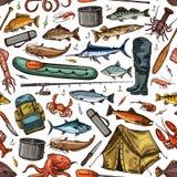 Fishing rod, fish, fisherman boat seamless pattern vector illustration