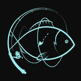 Fishing rod with a float and fish. Fishing rod with float and fish silhouette Stock Photo