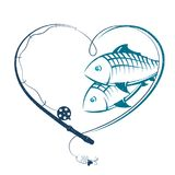 Fishing rod in the form of heart and fish. Fishing rod in the shape of heart and fish silhouette Royalty Free Stock Photo
