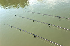 Fishing rod at the green  water Royalty Free Stock Image