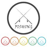 Fishing rod icon, 6 Colors Included. Simple  icons set Royalty Free Stock Image
