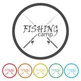 Fishing rod icon, 6 Colors Included. Simple  icons set Stock Photography