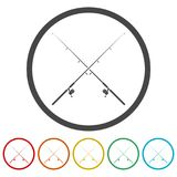 Fishing rod icon, 6 Colors Included. Simple vector icons set Royalty Free Stock Image