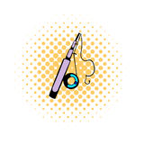 Fishing rod icon, comics style Royalty Free Stock Photos