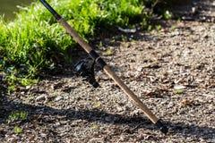 Fishing rod on lake Royalty Free Stock Photography