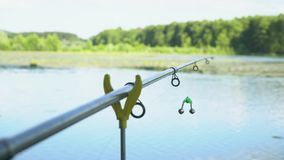 Professional fishing rod waiting for bites on water river. Fishing rod on the lake in summer day. Fishing rod on the lake in summer day stock footage