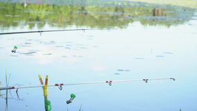 Two fishing rods on the lake in summer day. Professional fishing rod waiting for bites on water river. Fishing rod on the lake in summer day stock video footage