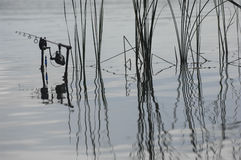 Fishing rod in the lake, waiting for the key Stock Photography