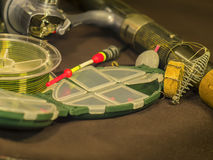 Fishing rod, line, float and sinker Stock Images