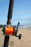 Fishing rod, ocean background Stock Image