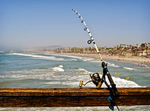 Fishing Rod on an Ocean Pier, California Stock Photography
