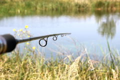 Fishing rod onl natural background closeup Royalty Free Stock Photography