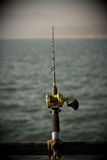 Fishing rod over ocean Stock Photos