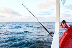 Fishing rod are prepared to offshore fishing on the boat in ocean royalty free stock photo