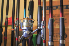 Fishing rod. With fishing reel Royalty Free Stock Photography