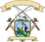 Fishing Rod Reel Blue Marlin Fish Beer Bottle Coat of Arms Drawing. Drawing sketch style illustration of hand holding fishing rod and reel hooking a beer bottle Stock Photos