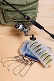 Fishing rod and reel with box for baits. Stock Images