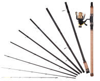 Fishing rod, reel, broken into parts Stock Photos